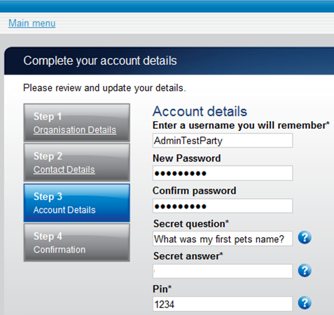 complete your account details screen